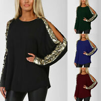 Womens Cold Shoulder Sequins T-Shirt Long Sleeve Glitter Tops Club Party Blouse