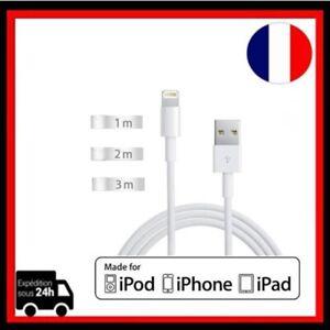 CABLE POUR IPHONE X 8 7 6 5 SE PLUS IPAD CHARGER USB BLANC 1M 2M 3M LOT 2 3 5 10