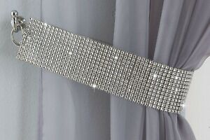 2 x DIAMANTE CRYSTAL GLITTER TIE BACKS SILVER 60cm FOR HOLDBACKS CURTAINS VOILES
