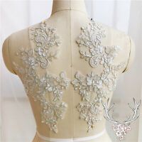 Mirror Pair Corded Embroidery Floral Lace Applique Patch for Wedding Gown