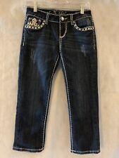 LA Idol Size 3 Capri Jeans Jeweled Rhinestone Button NWOT