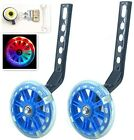 YJIA Pair of Bicycle Mute Training Wheels for 12 14 16 18 20 inch Blue Light Up