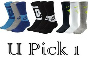 Nike Socks Athletic Crew Youth Boys 3 pair Sports Performance Young Athletes