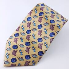 Stonehenge Men's Silk Neck Tie - Blue, Orange & White Fish on Yellow/Gold