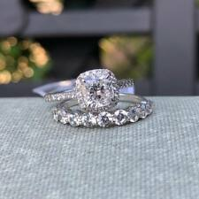 Cushion Cut 2.60 Ct Diamond Engagement Bridal Ring Set Solid 14k White Gold Over