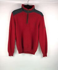 Paul & Shark 1/4 Zip Pullover Sweater Mens Sz M Red Wool Yachting Quilt Elbows
