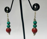 Asian  silver earring Handmade Turquoise and coral stone Asian jewelry DM2