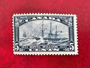 1933 Canada Stamp, Scott #204 Steamship Royal William 5c dark blue MH