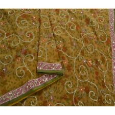 Sanskriti Vintage Green Saree Pure Georgette Silk Hand Beaded Craft Fabric Sari