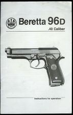 1991 Beretta Model 96D .40 Cal Semi-Auto Pistols Vintage Factory Owner's Manual