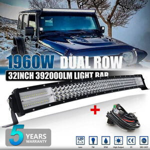 CREE 4 ROW 32INCH 1960W CURVED LED LIGHT BAR COMBO DRIVING OFFROAD TRUCK SUV 30""