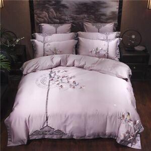 4/7Pcs Purple Luxury Egyptian Cotton Bedding Set Bed Set Embroidery Duvet Cover