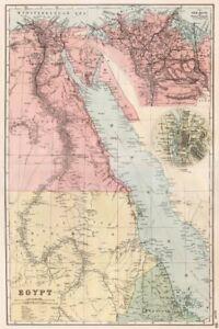 EGYPT & NILE VALLEY.Inset Delta & Suez Canal;Cairo.Battlefields.BACON 1893 map