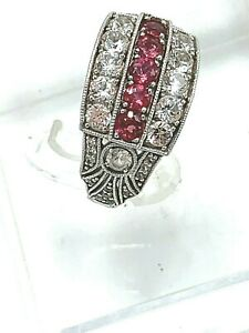WB Sterling Silver Red CZ Art Deco Cocktail Ring size 7.5