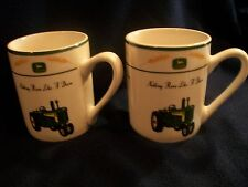 "2 John Deere 730 Tractor Coffee Mug Cup ""Nothing Runs Like a Deere"" Wheat Gibson"