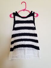 Abercrombie kids girls navy blue & white stripe top with cute white lace bottom