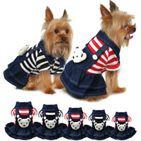 Denim Small Dog Dresses Jumpsuit Chihuahua Clothes Apparel for Puppy Pet Cat
