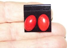 red coral cabachon earrings