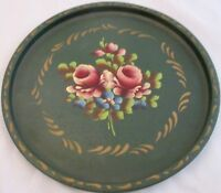 """Tole Ware Round Tray 11"""" Hand Painted Hunter Green Floral Roses Vintage"""