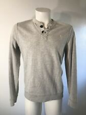 VTG Abercrombie & Fitch MUSCLE Moose Logo Gray Henley Sweatshirt DISTRESSED MED