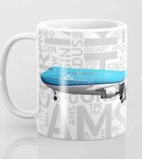 KLM Boeing 747-400 with Airport Codes - Coffee Mug (11oz)