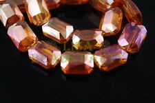 10pcs 14mm Rectangle Square Faceted Crystal Glass Loose Beads Orange Colorized