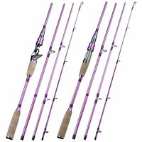 Lure Fishing Rod Spinning Casting Carbon Fiber Travel Size 2.1M Pole Cork Handle