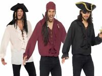 Mens Pirate Shirt Deluxe Pirates Top With Ruffle Fancy Dress Accessory M-XL