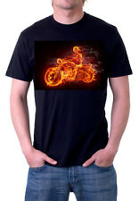 Fire Skeleton mens t shirt black tee