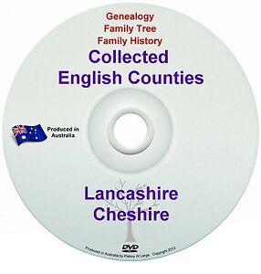Genealogy England Lancashire Cheshire books DVD