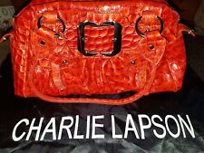 CHARLIE LAPSON REPTILE PRINT LEATHER BAG