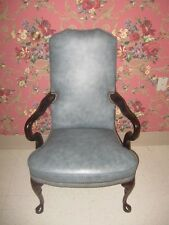 Classic Leather Blue Wing Back Chair Cherry Georgian Court  Queen Anne Legs