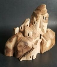 Wood Wooden PopUp Hidden Carved Castle House Hill Natural Edge Small Celtic Mark