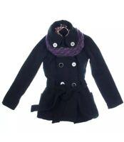JOUJOU New Women's Black Button Double-Breasted Wool Blend Jacket Coat Size XS