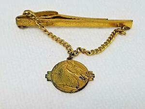 Vintage Gold Colored Chain Italian Stallion Style Arrow Tie Clasp Clip
