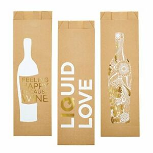 "Santa Barbara Design Studio Paper Wine Bags 5"" W x 17 "" H Assorted Pack of 6"