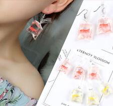 Charm Women Jewelry Funny Goldfish Water Bag Shape Dangle Hook Earrings Novelty