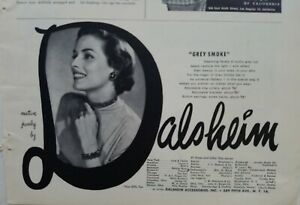 1950 Dalsheim gray smoke facets necklace bracelet earrings vintage jewelry ad