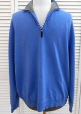 CLUB ROOM SWEATER XXL/2XL Blue Gray 100% CASHMERE 1/4 Zip Neck Long Sleeve Mens