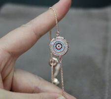 rose gold evil eye protection bracelet adjustable lucky bracelet wedding jewelry