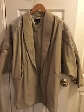 Women's Vintage 80s Electric Beige tan  Leather Jacket Blazer Size M Suzelle