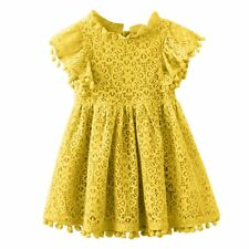 Flower Girl Princess Dress Kids Baby Party Pageant Lace Crochet Dresses Clothes