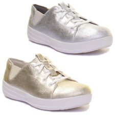 Fitflop Shoes F SPORTY Metallic Lace Up Flat Trainers Size UK 3 - 8