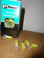 55  Panduit Pan-Term PN10-10R-L RING TERMINAL Yellow Nylon AWG 12-10 Stud 10 NEW