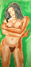 Vintage expressionist watercolor painting nude woman portrait