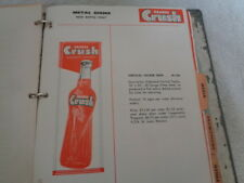 Rare 1956-57 Orange Crush & Old Colony Soda Advertising Sign Catalog Notebook