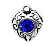 10 ANTIQUE SILVER DEEP BLUE CRYSTAL HEART CHARMS/PENDANT 12mm WEDDING-CARDS(17E)