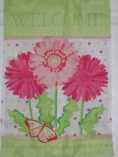 "Welcome Spring Flowers Summer Mini Applique Garden Flag 12"" X 18"" New"