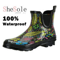 SheSole Women's Rain Boots Gumboots Waterproof Rubber Wellies Floral Printed