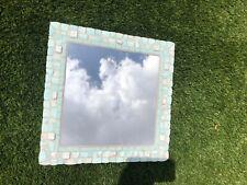 Mosaic Square Wall Mounted Green Tiled Handmade Mirror.